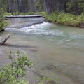 The crossing of Stanley Lake Creek can prove wet during the spring runoff.- Alpine Way Trail, Iron Creek to Stanley Lake
