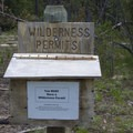 Wilderness permit box at the Alpine Way/Stanley Lake Trail junction.- Alpine Way Trail, Iron Creek to Stanley Lake