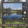 Trail sign at the Stanley Lake trailhead near the Stanley Lake Campground.- Alpine Way Trail, Iron Creek to Stanley Lake