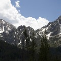McGown Peak (right) and Mystery Mountain (left) near the Stanley Lake trailhead.- Alpine Way Trail, Iron Creek to Stanley Lake