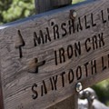 Trail sign at the Alpine Way/Iron Creek junction.- Alpine Way Trail, Iron Creek to Stanley Lake