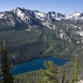Looking onto Hell Roaring Lake from a spur ridge off of the Alpine Way Trail.- Alpine Way Trail, Redfish to Huckleberry Creek