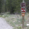 Sign at the Alturas Creek trailhead identifying trail uses.- Alturas Lake Creek to Mattingly Divide