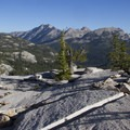 Glacial polish on the slabs 600 feet above Ardeth Lake. Elk peak stands left of center.- South Fork of the Payette River, Ardeth Lake and the Spangle Divide