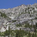 Granite spires and faces along the north side of the Ardeth Lake Trail.- South Fork of the Payette River, Ardeth Lake and the Spangle Divide