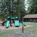 Playgrounds and other amenities at Cascade Lake.- Orcas Island: Cascade Lake