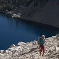 Small climbers trails can be followed through the talus and scree fields.- Bench Lakes