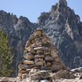 Rock cairn in the northwest saddle of Mount Heyburn.- Bench Lakes