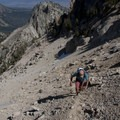 A faint climber's trail leads from the northwest saddle to the southwest or Silver Saddle of Mount Heyburn.- Bench Lakes