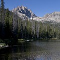 Mount Heyburn (10,299') can be seen from the lowest Bench Lake.- Bench Lakes
