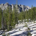 Granite polished slabs dominate the hike up into the Benedict, Three Island, and Slide Rock basins.- South Fork of the Payette River, Benedict, Rock Slide, Three-Island Lakes + Ingleborg Divide