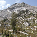 The east face of Plummer Peak (9,978') stands above Three Island Lake.- South Fork of the Payette River, Benedict, Rock Slide, Three-Island Lakes + Ingleborg Divide