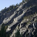 Glacial polished granite slabs flank the trail upstream from Elk Lake.- South Fork of the Payette River, Benedict, Rock Slide, Three-Island Lakes + Ingleborg Divide