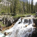 Smith Falls tumbles over a granite slab just before the turnoff to Benedict Lake.- South Fork of the Payette River, Benedict, Rock Slide, Three-Island Lakes + Ingleborg Divide