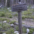 Trail sign at the Benedict Lake and South Fork of the Payette canyon junction.- South Fork of the Payette River, Benedict, Rock Slide, Three-Island Lakes + Ingleborg Divide