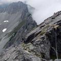 Following the slab traverse on Mount Thomson's west ridge.- Mount Thompson: West Ridge