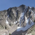 The north face of Payette Peak holds snow well into the sumemr for aspiring ski mountaineers.- South Fork of the Payette River, Hidden Lake and Cramer Divide