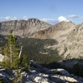 Looking down the Cramer Lake basin from near the Cramer Divide.- South Fork of the Payette River, Hidden Lake and Cramer Divide