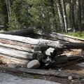 The remains of an abandoned log cabin just beyond the Hidden Lake junction.- South Fork of the Payette River, Hidden Lake and Cramer Divide