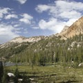 The view as hikers approach Hidden Lake.- South Fork of the Payette River, Hidden Lake and Cramer Divide
