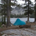 A rainy camp on the north shore of Browns Lake.- Little Queens River - Browns Lake