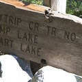 Sign at the Flytrip Creek and Middle Fork of the Boise River trail junction.- Middle Fork of the Boise River, Camp Lakes and Flytrip Basin