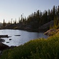 Sunset in the south lobe of the Flytrip Basin.- Middle Fork of the Boise River, Camp Lakes and Flytrip Basin