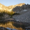 Sunset over lakes in the south lobe of Flytrip Basin.- Middle Fork of the Boise River, Camp Lakes and Flytrip Basin