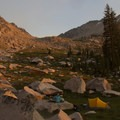 Camp at 9,200 feet in the north lobe of Flytrip Basin.- Middle Fork of the Boise River, Camp Lakes and Flytrip Basin
