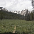 The trail crosses several large meadows at the 7,000-foot elevation.- Bull Moose Creek