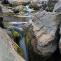Risky scampering will lead you to a view of the falls.- Los Peñasquitos Canyon Preserve