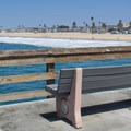 A bench overlooks the water.- Newport Municipal Beach