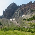 View of Three Fingered Jack from the upper meadow.- Canyon Creek Meadows