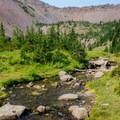 Canyon Creek flowing through the upper meadow.- Canyon Creek Meadows