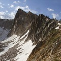 Looking across the north face of The Temple at the headwaters of the Cramer Lake basin.- Cramer Lakes + Divide