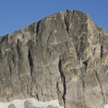 The towering northwest face of Mount Cramer, which holds a few multi-pitch technical climbing routes and potential for much more.- Cramer Lakes + Divide