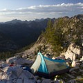The ridgeline heading north from the Cramer Divide has many good bivvy sites and offers spectacular evening views in nearly all directions.- Cramer Lakes + Divide