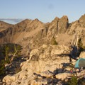 Evening camp on the ridge north of the Cramer Divide.- Cramer Lakes + Divide