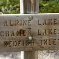 Trail sign at Flatrock Junction.- Cramer Lakes + Divide