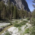 Huge glacially carved walls flank the entrance to the Leggit Creek Valley.- Middle Fork of the Boise River, Leggit Lake