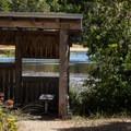 A wildlife observation blind on the shores of Muddy Lake.- New River ACEC Trails