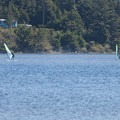 Floras Lake is popular with sailboarders and kiteboarders.- Floras Lake Trail Hike