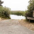 The boat ramp at Floras Lake.- Floras Lake Trail Hike