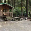 A cabin is available for reservation.- Bastendorff Beach County Park Campground