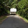 Typical RV site at Bastendorff Beach County Park.- Bastendorff Beach County Park Campground