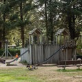 The playground in the adjacent Bastendorff Beach day use area.- Bastendorff Beach County Park Campground