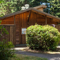 Restrooms and showers at Sunset Bay State Park Campground.- Sunset Bay State Park Campground