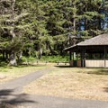 A day use shelter at Cape Arago State Park.- Cape Arago State Park
