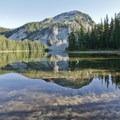 Indigo Lake offers a spectacular vista of Sawtooth Mountain (7,301').- Timpanogas + Indigo + June Lake Trails