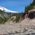 Mount Hood (11,250 ft) from the Sandy River.- Timberline Trail